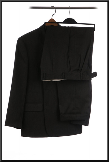 Men's suit with faint pinstripe estimated chest 36 trousers marked 32S - charcoal grey
