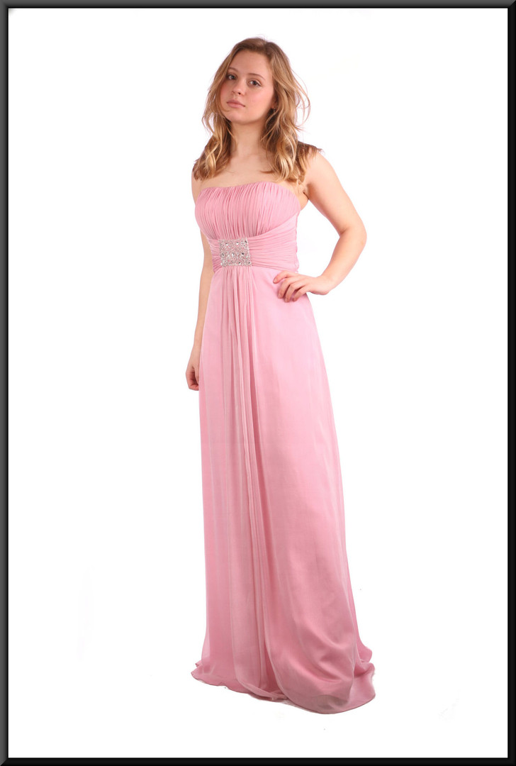 Full satin evening dress with net overlay (US size 4) - pink; model height 5'3!