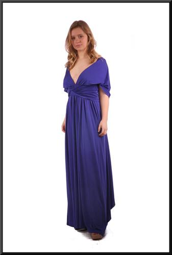 """Slimline backless satinette felt evening dress - dark royal blue; model height 5'3"""""""