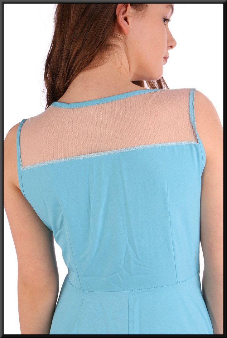 """Simple summer cocktail mini dress with translucent panel above bust - paleturquoise, size 12. Model height 5'7"""""""