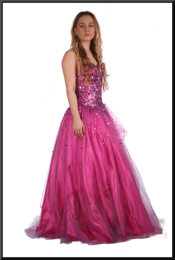 """Full length multi-layer embellished chiffon over satin classic evening dress- shocking pink, size 6. Brunette model height 5'7"""", blonde model height 5'3"""""""
