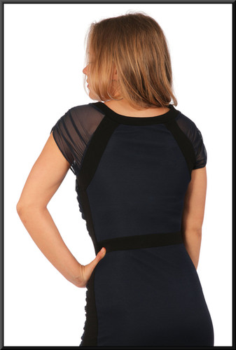 """Ruched cocktail dress cotton with net shoulder panels, black and navy blue, size 10, model height 5'5"""""""