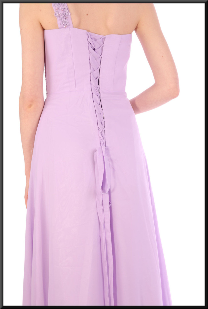 Full length single embellished strap chiffon over satinette full evening dress - lilac, size 10/12.  Model height 5'7""