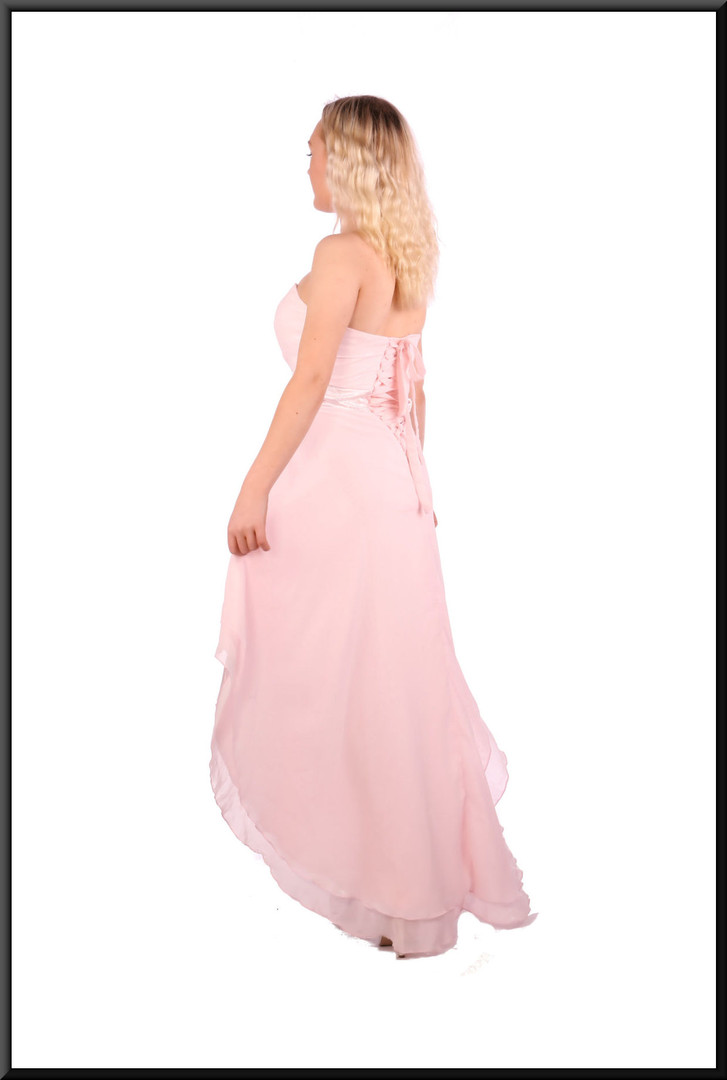 Strapless polyester chiffon double layer dress, size 4 in pink  Model height 5'2""