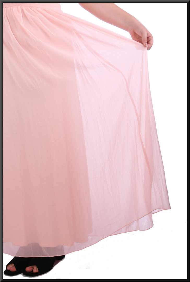 Chiffon over satinette full length evening dress with ruched bodice and nude shoulder panels - pink, size 16; model height 5'8""