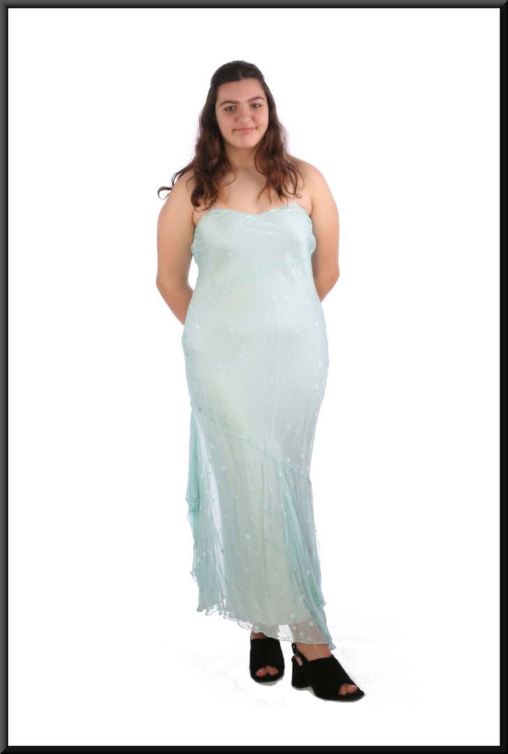 Asynchronous slim cut party dress with chiffon skirt flares and gem rear straps - pale blue, size 16; model height 5'8""