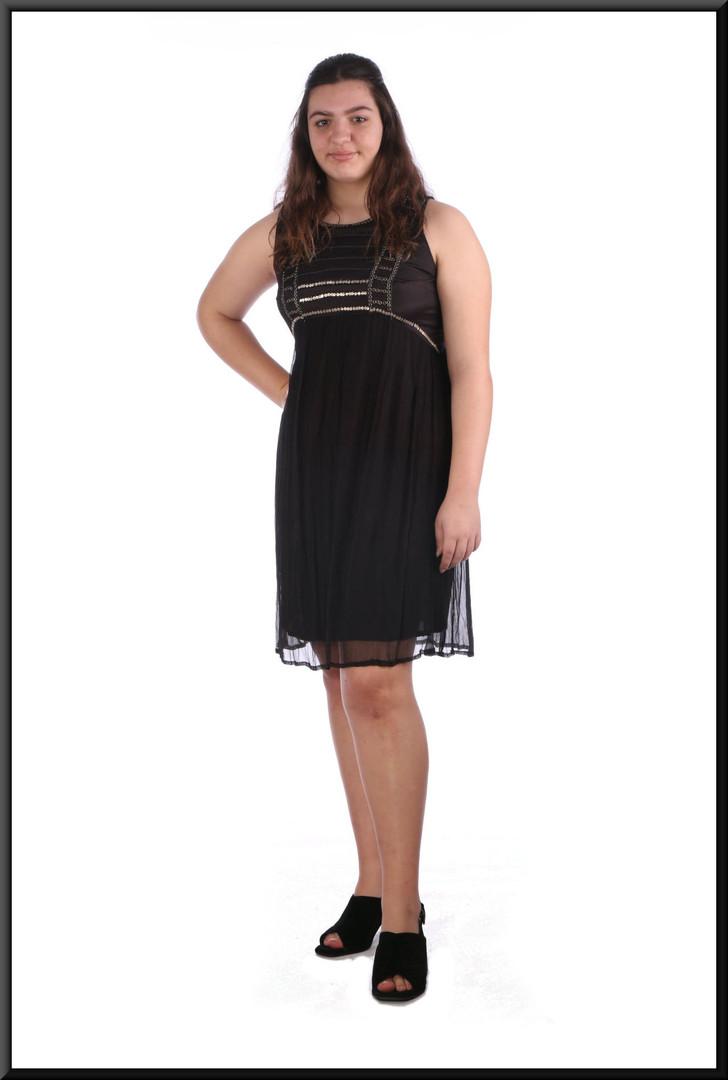 "Satinette mini dress with chiffon over-skirt marked EU size 44 - black, size 16; model height 5'8"""