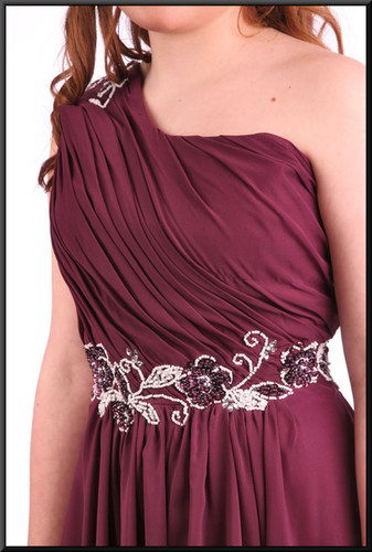 """Knee length net over satinette mini dress with bejewelled bodice and strap - plum, size 10. Model height 5'4"""""""