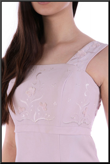 """Ankle length 100% polyester dress - pale pink, size 8. Model height 5'10"""""""