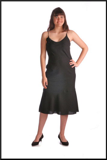 Simple polyester cocktail dress with black rose embellishment, black, size 10 / 12