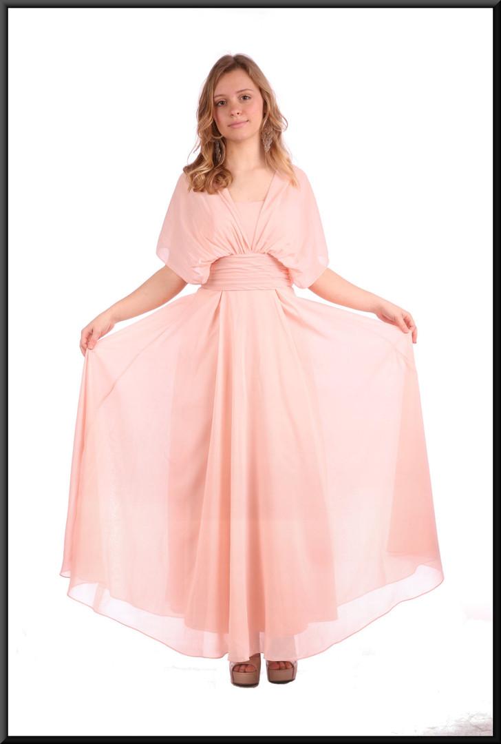 "Size 8 / 10 calf length cocktail dress chiffon over satinette full skirt, pink; model height 5'3"""