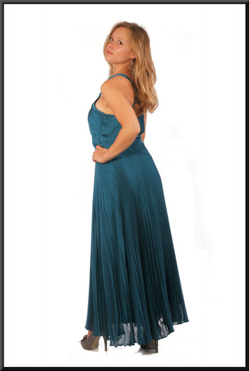 Ankle length party / evening dress chiffon over satinette, bottle green, size 10, model height 5'5""