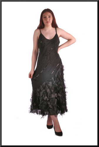 Calf length cocktail / party dress with feather and sequin patterns, black size 16