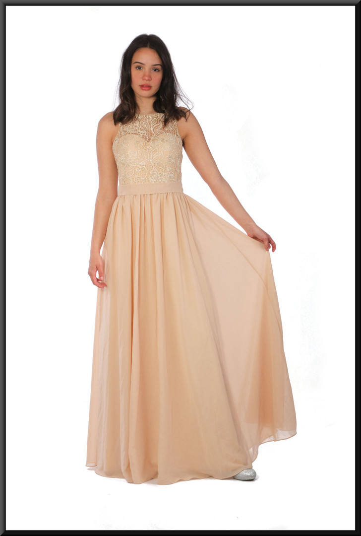 """Full length semi-backless evening dress with embellished bodice chiffon over satinette in light fawn, size 8, model height 5'7"""""""
