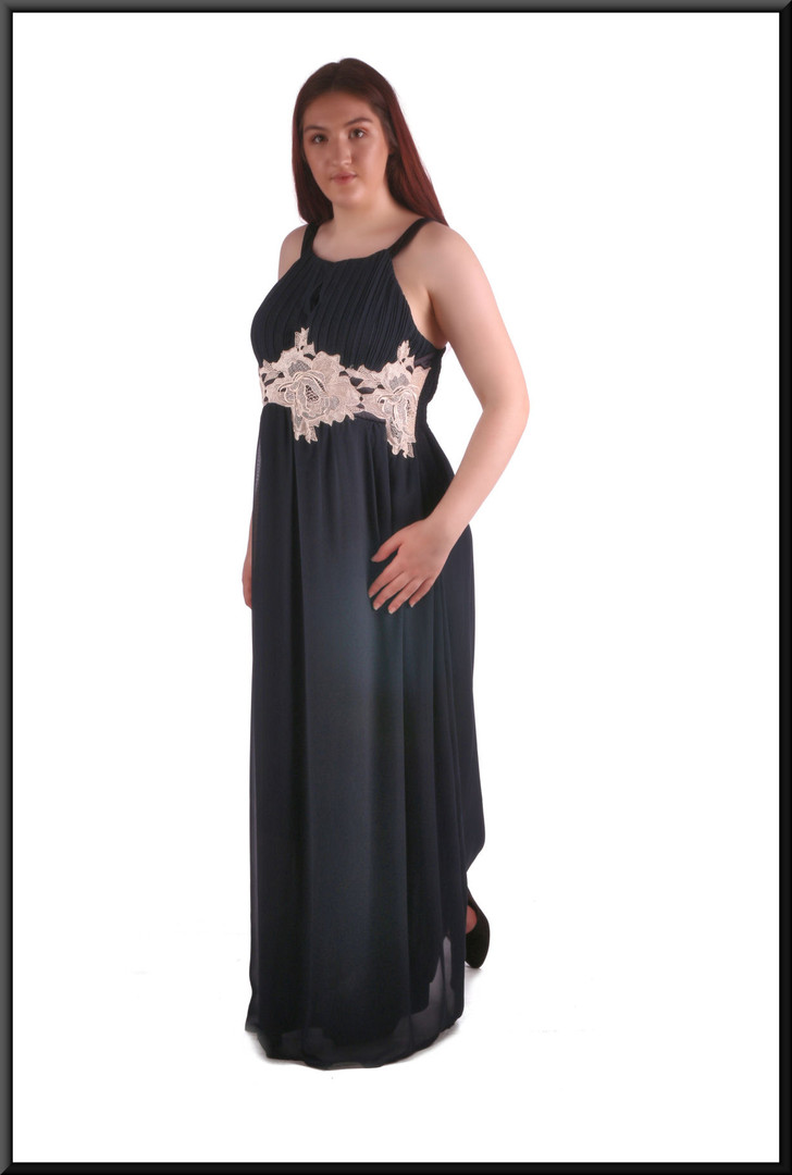 Full length chiffon over satinette hi-waist evening dress with cream embroidered panel just below bodice, black and cream size 16/18