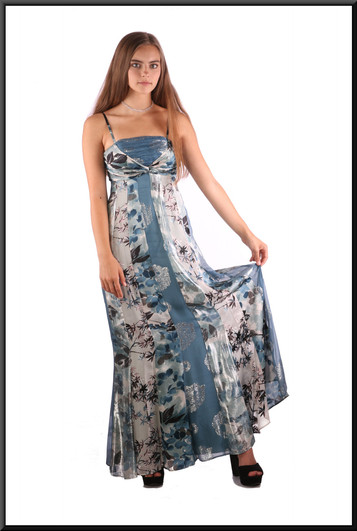 """Boho style satinette multi-tone ankle-length evening / party dress, multi-coloured blue, size 4 / 6, model height 5'2"""""""