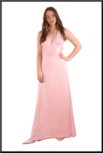 """Full length chiffon over satinette thirties-style """"Gloria Swanson"""" evening dress - pink, size 10 / 12; model height 5'7"""""""