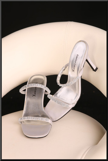 Ladies' simple slip on silver heeled sandals with embellished toe and ankle straps size 5