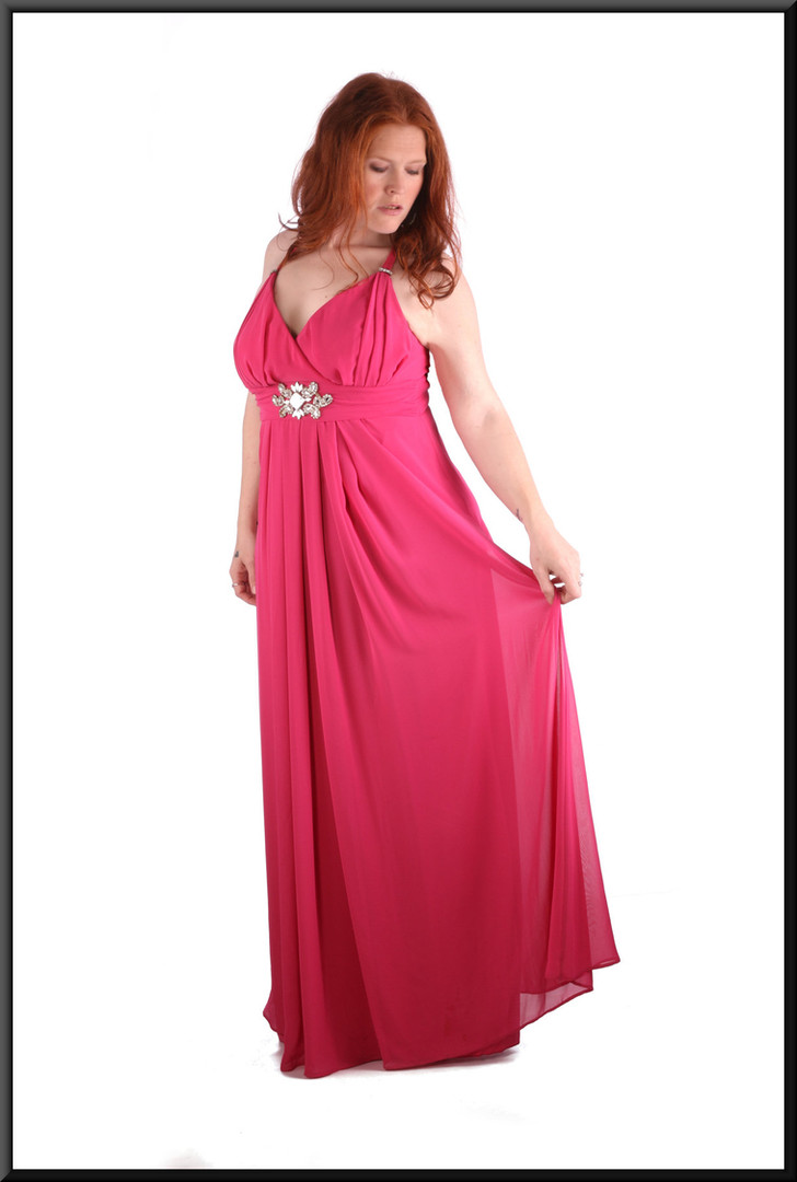Chiffon over satinette high waist evening / party dress with pleated front of skirt and diamanté trim size 14 / 16 dark shocking pink