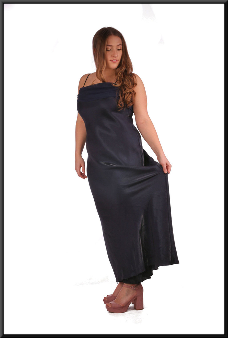 """Unusual full length cocktail dress with shimmer effect front and satin effect back in two-tone navy blue.  Model height 5'4"""""""