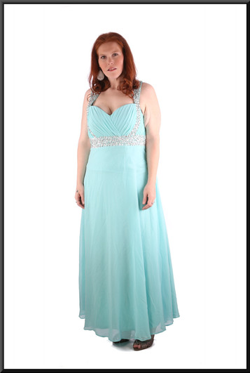 """Full length chiffon over satinette full skirt evening dress with diamanté effect shoulder straps, turquoise, size 18, model height 5'7"""""""
