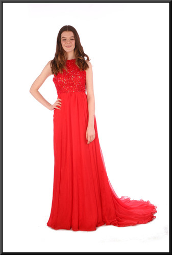 """Full length chiffon over satinette backless evening dress with beaded bodice - red, size 8; model height 5'7"""""""