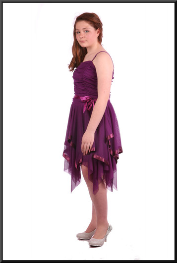 """Multi-layered net fairy mini dress with ruched bodice - plum, size 8 / 10. Model height 5'4"""""""