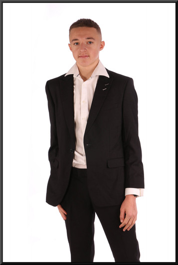 """Men's evening suit, jacket size not marked, trouser 32"""" short - worn with shirt cat. no. 157. Model height 5'11"""""""