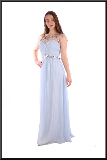 """Full length evening dress in chiffon-effect polyester with nude patterned upper bodice - pale blue, size 12; model height 5'7"""""""