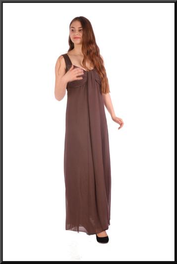 "Boho style chiffon over-skirt and felt effect polyester underskirt - brownish-grey, size 10. Model height 5'5"""