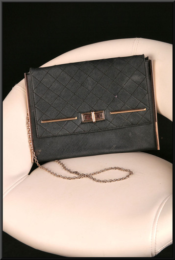 Black leather effect shoulder bag with gold coloured chain
