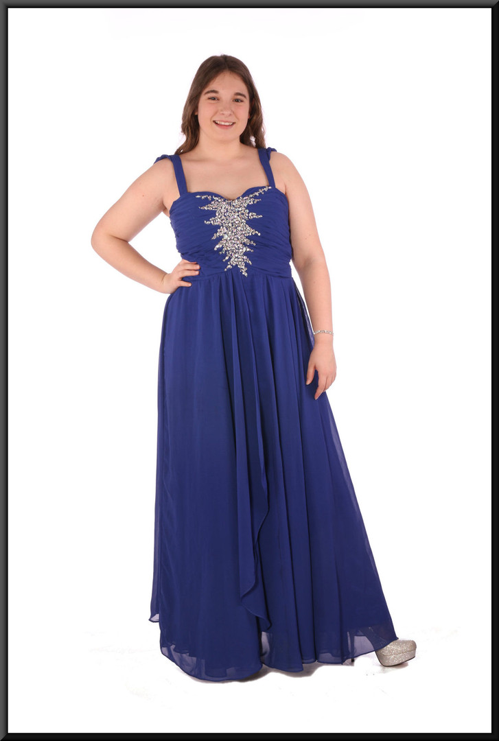 """Chiffon over skirt over satinette skirt with diamanté embellished ruched bodice - royal blue, size 14, model height 5'7"""""""