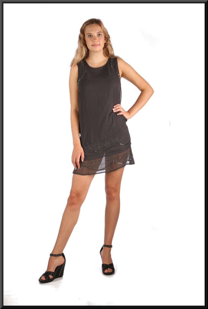 Twenties style micro dress with very short skirt and net beaded mini over-skirt, charcoal, size 10, model height 5'10""