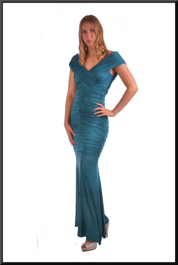 """Ankle length ruched body with chiffon skirt evening dress - teal, size 10. Model height 5'9"""""""