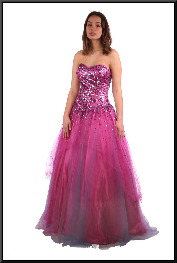 """Full length multi-layer embellished chiffon over satin classic evening dress in dark shicking pink.  Size 6.  Model height 5'7"""""""