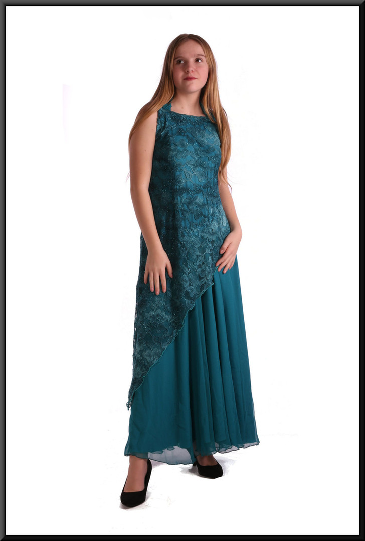 Full-length Edwardian style evening dress with patterned net overlay, dark sea green