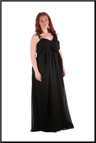 Size 22 Ankle length chiffon over polyester full skirt evening / party dress - black