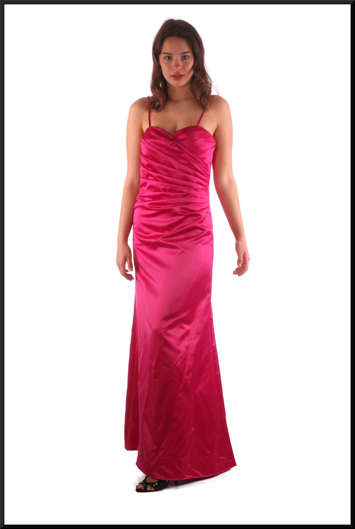 """Full length satinette evening dress with ruched bodice and narrow shoulder straps, pale plum, size 10, model height 5'7"""""""