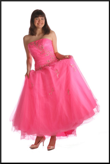"""Strapless Cinderella ball gown ankle length with diamanté and sequin emblazoned bodice / waistline, pink, size 8 / 10, model height 5'10"""""""