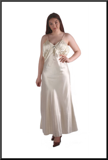 """""""Great Gatsby"""" shiny satinette ankle length evening / party dress - marked Medium, cream, size 12, model height 5'7"""""""
