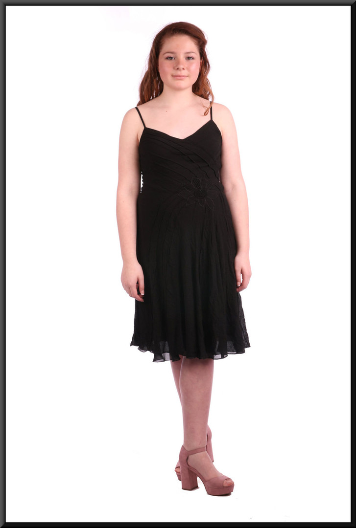 """Simple chiffon over satinette cocktail mini dress - black, size 8. Model height 5'4"""""""
