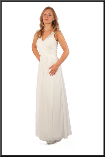 """Full length evening dress chiffon over satinette in silvery white, size 10, model height 5'5"""""""
