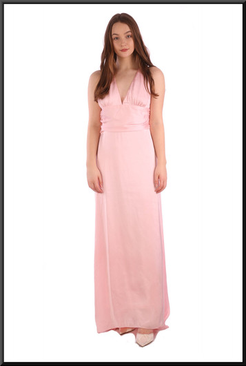 """Full length chiffon over satinette thirties-style """"Gloria Swanson"""" evening dress - pink, size 10 / 12. Model height 5'7"""""""