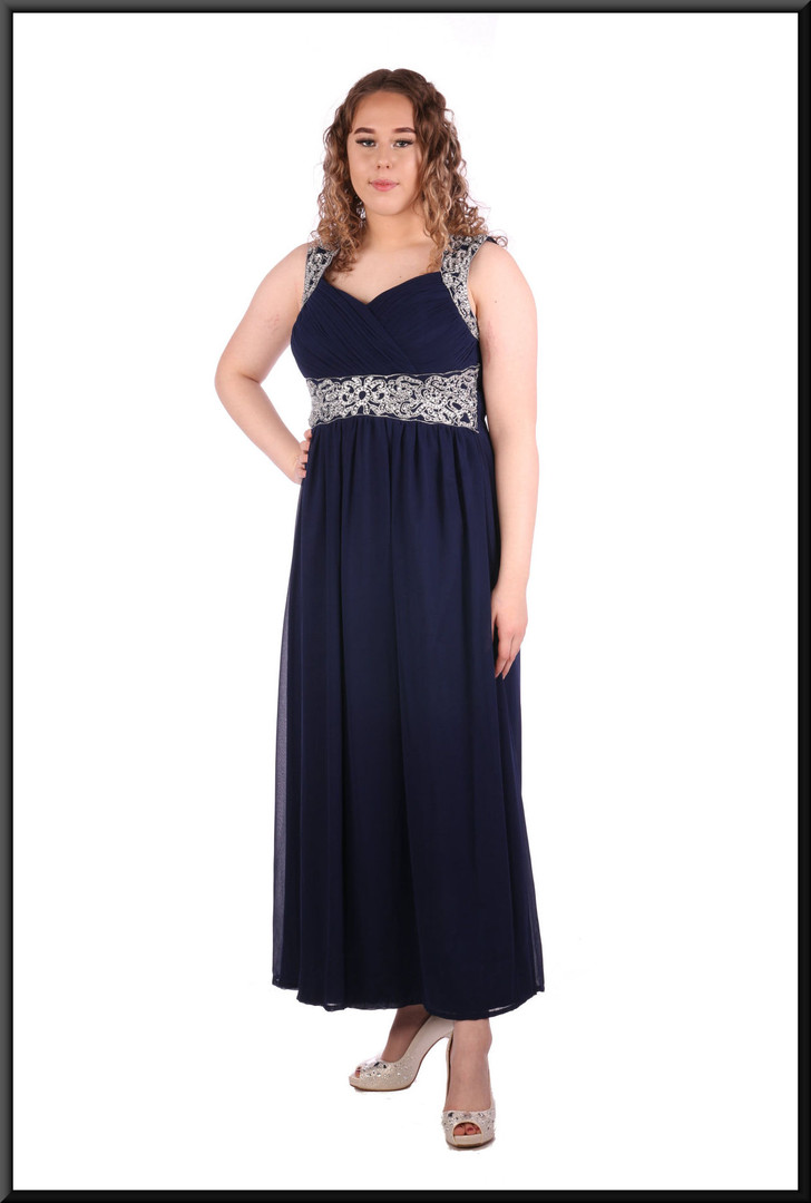 Silk-effect over satinette calf length with diamanté straps and bodice detail, size 12 / 14 in royal blue.  Model height 5'7""