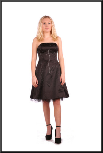 Black strapless satinette over net mini-dress with embellished bodice and corset tie, size 4 in black  Model height 5'2""