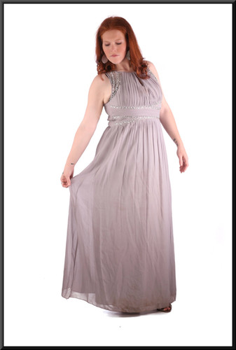 Ankle length evening / party dress chiffon over polyester with rear ruched bodice marked EU 42 / size 14/16 silver-grey