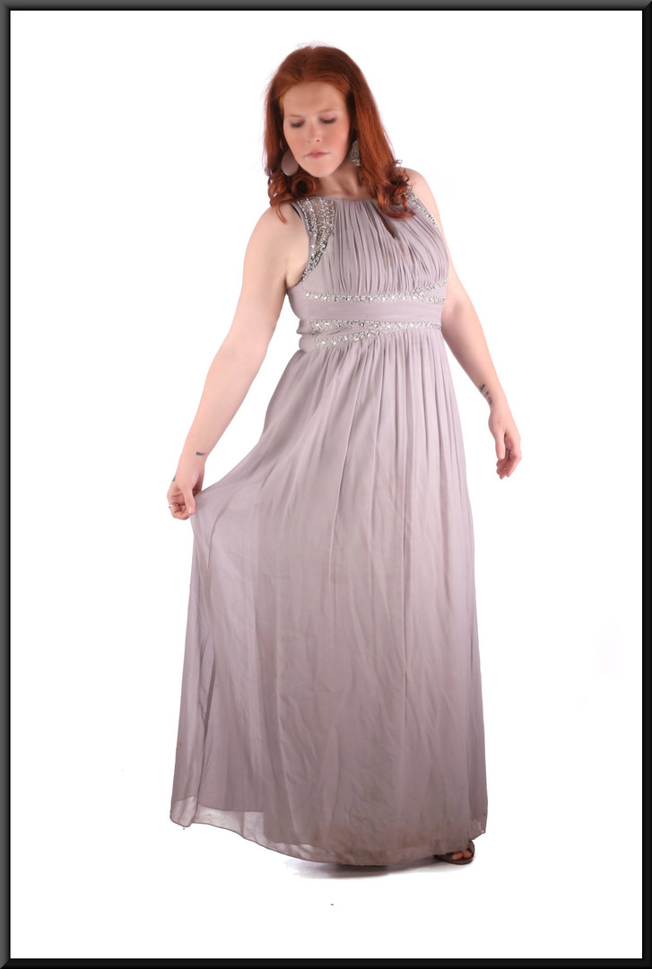 Size 14 / 16 silver-grey ankle length evening / party dress chiffon over polyester with rear ruched bodice marked EU 42