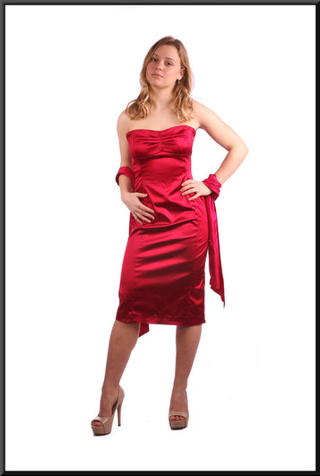 """Satinette strapless cocktail dress with drape - red; model height 5'3"""""""