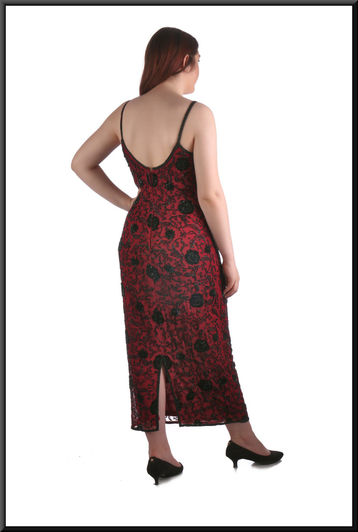 """Lower calf length evening / cocktail dress with embroidered chiffon dress over polyester, plum andblack, size 12, model height 5'7"""""""
