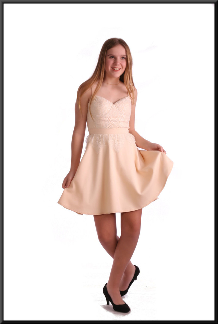 100% polyester full short skirt cocktail dress - cream